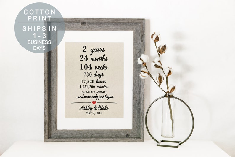 1298351d0089 Cotton Anniversary Print 2nd Anniversary Weeks Days Hours