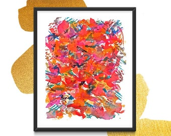 """Watercolor painting abstract """"Floral Burst""""- prints- deconstructed flowers of red, red violet, gold, teal by AnnGees"""