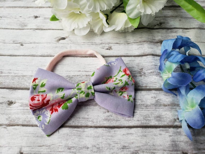 bow toddler pink spring hook and loop baby Tea cup clip Easter nylon band child bow tie floral roses purple hand made
