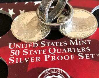 Quarter coin Rings, State Quarter coin ring ,Coin By Hobby, Silver coin  rings, Coin rings,US quarters, Ring bands,Coin by  hobby