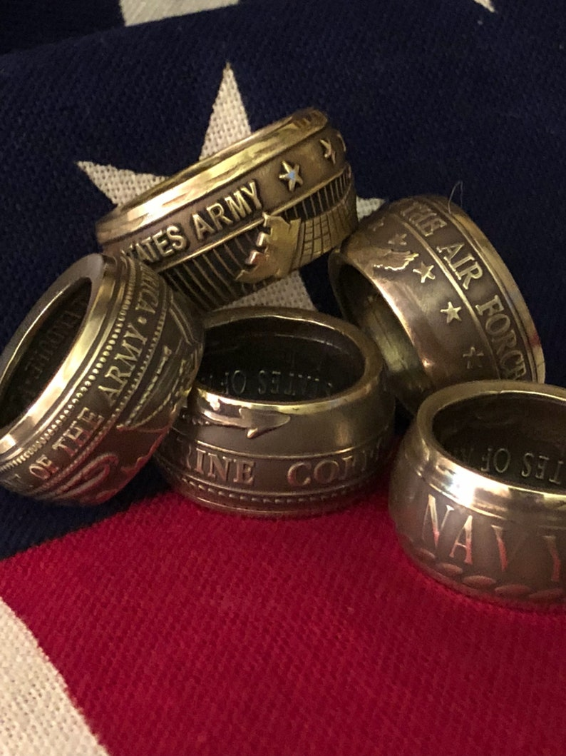 Coin By Hobby Veterans Rings Unique Gift Ring Bands