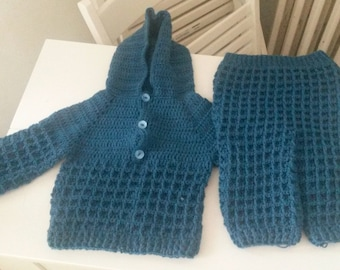 together, teal, t6mois made hand crochet (I can make it in another size and / color)