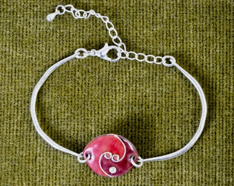 Enamel bracelet with the around wrist on silver plated metal