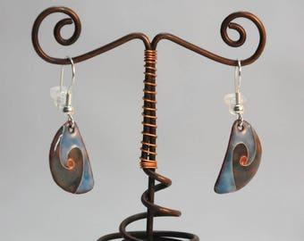 Enamel cloisonné, turquoise blue earrings