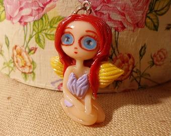 Clay Fairy necklace, Clay Fairy Charm, Cute Clay Fairy, Kawaii Fairies, Cute Fairy jewelry, Cute Fairy Figurine, Fairy Doll, Kawaii Doll