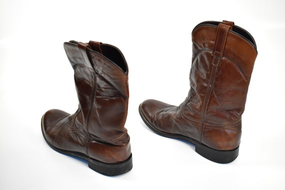 Men's Size 9 Deep Brown Cowboy Western BOOTS - image 6