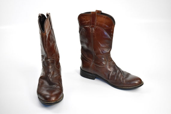 Men's Size 9 Deep Brown Cowboy Western BOOTS - image 2