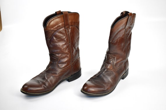 Men's Size 9 Deep Brown Cowboy Western BOOTS - image 4