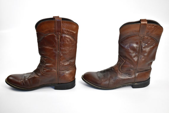 Men's Size 9 Deep Brown Cowboy Western BOOTS - image 5