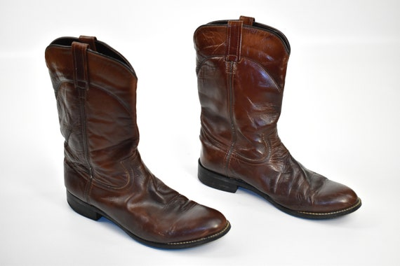 Men's Size 9 Deep Brown Cowboy Western BOOTS - image 1