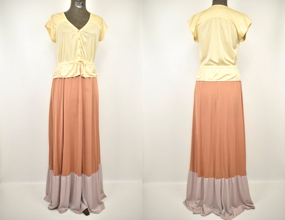 1960S Tiered Tri-Tone Nude Neutral Copper Polyeste
