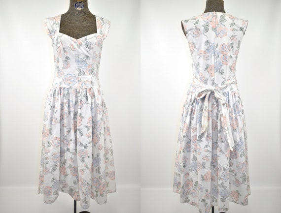 Pastel Chintz Floral Linen Day Dress | 1980s Engli