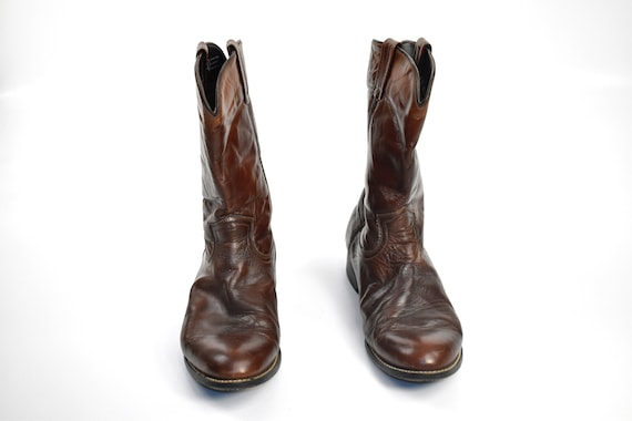 Men's Size 9 Deep Brown Cowboy Western BOOTS - image 3