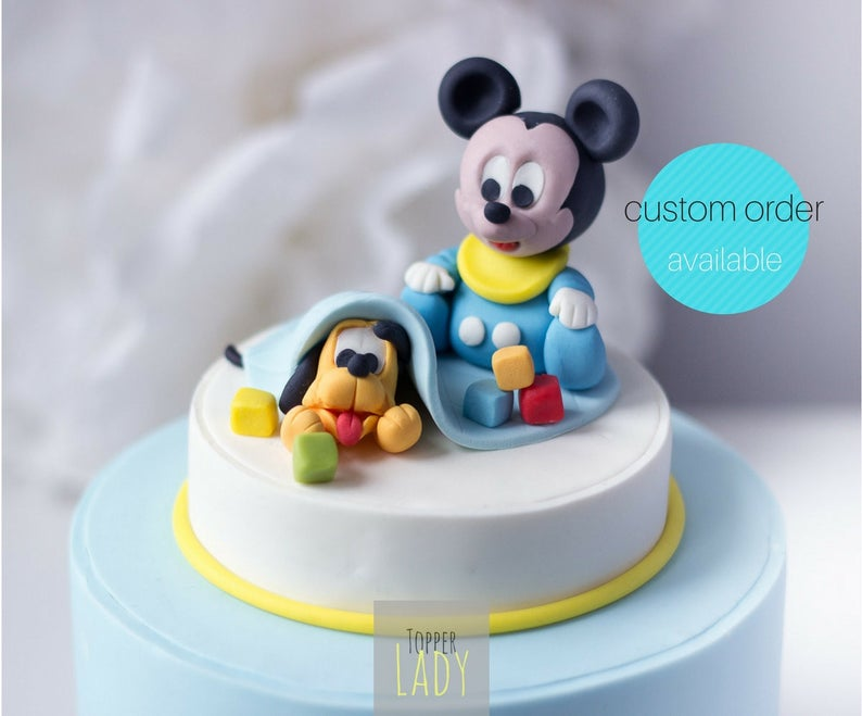 Baby Topolino Pluto Cake Topper Pasta Di Zucchero Torta Etsy