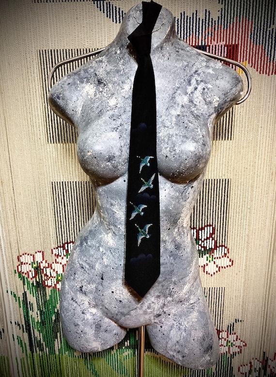Neck Tie ~|~ 1950s ~|~ Black Tie Hand Painted Silk