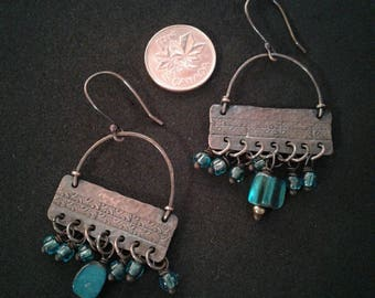 Etched and hand hammered copper chandelier earrings with turquoise colored glass beads
