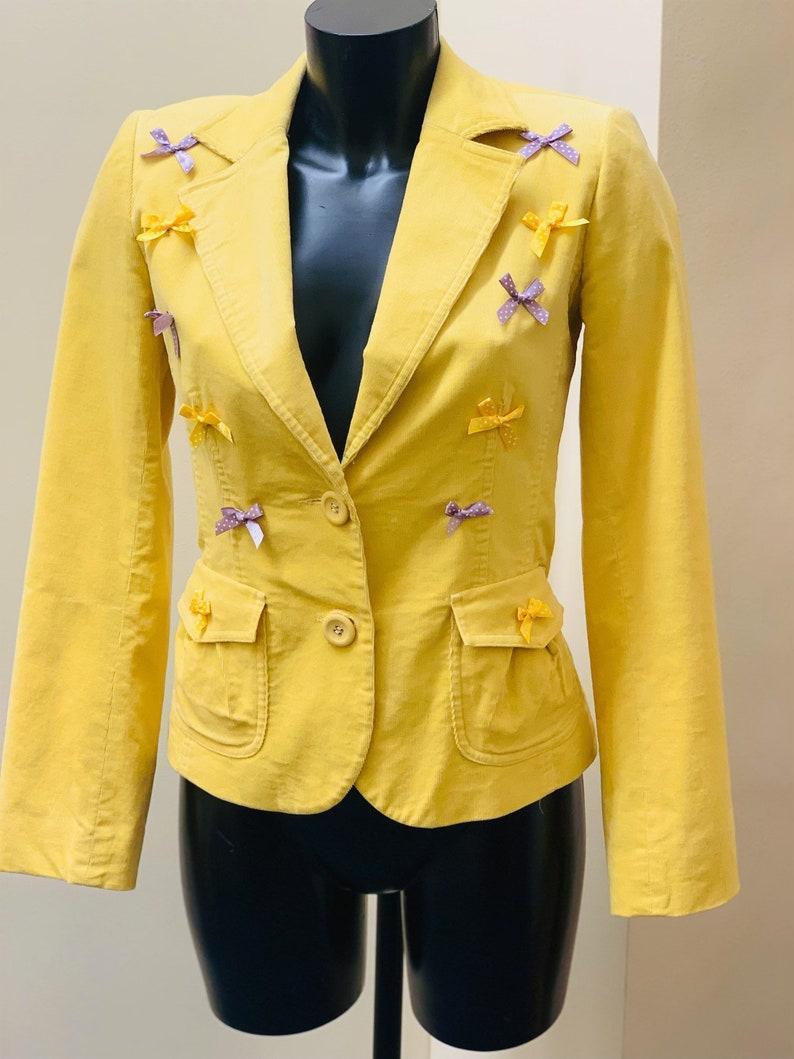 Embellished vintage lemon needlecord blazer with tiny polka dot bow embellishment size 12 90s 00s