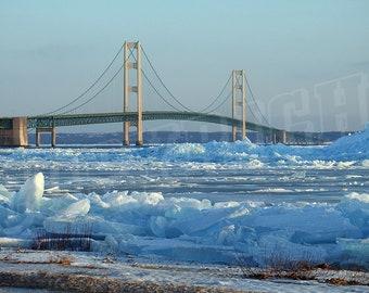 Rare Blue Ice Mackinac Bridge Michigan - Color Photograph