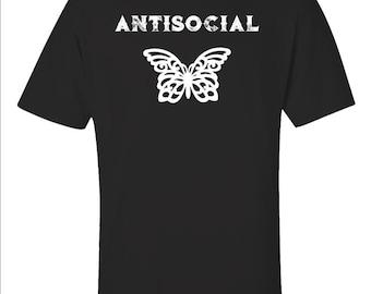 f7ad966f0ccf2f Antisocial Funny Anti Social Butterfly Antisocial Butterfly Introvert -  Unisex T-Shirt
