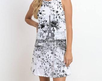 EIFFEL TOWER Printed Sleeveless Dress, Black and White, Mini Dress, Graphic Print Dress, Venetian Dress