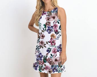 Water Color Floral Dress, Sleeveless Printed Dress, Casual Dress, Mini Dress