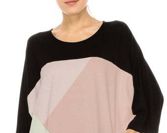 No Shoulder seam Chic & Stylish! COLOR BLOCKED over sized tee w color block print