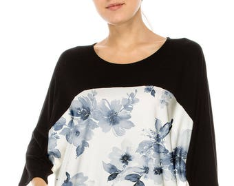 No Shoulder seam Chic & Stylish! COLOR BLOCKED over sized tee w blue floral water color print