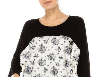 No Shoulder seam Chic & Stylish! COLOR BLOCKED over sized tee w flower print