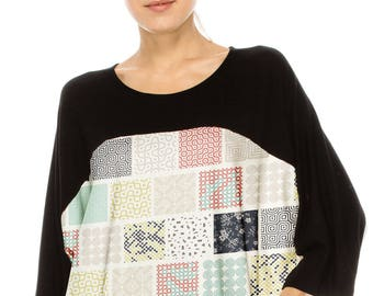 No Shoulder seam Chic & Stylish! COLOR BLOCKED over sized tee w print