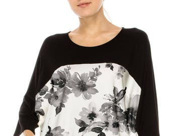No Shoulder seam Chic & Stylish! COLOR BLOCKED over sized tee w black floral water color print