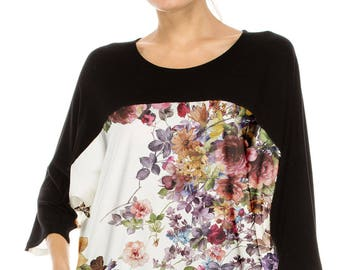 No Shoulder seam Chic & Stylish! COLOR BLOCKED over sized tee w water color flower print