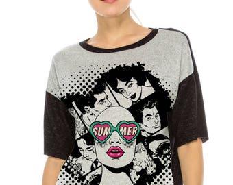 Hg Color Block Top W Pop ART girl Print
