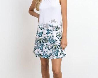 Leaf Printed Mini Dress, Sleeveless Dress, Graphic Print Dress
