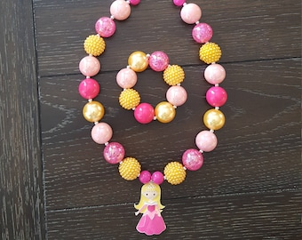 Sleeping Beauty's Princess Aurora Inspired Chunky Bubblegum Bead Necklace and Bracelet / Disney