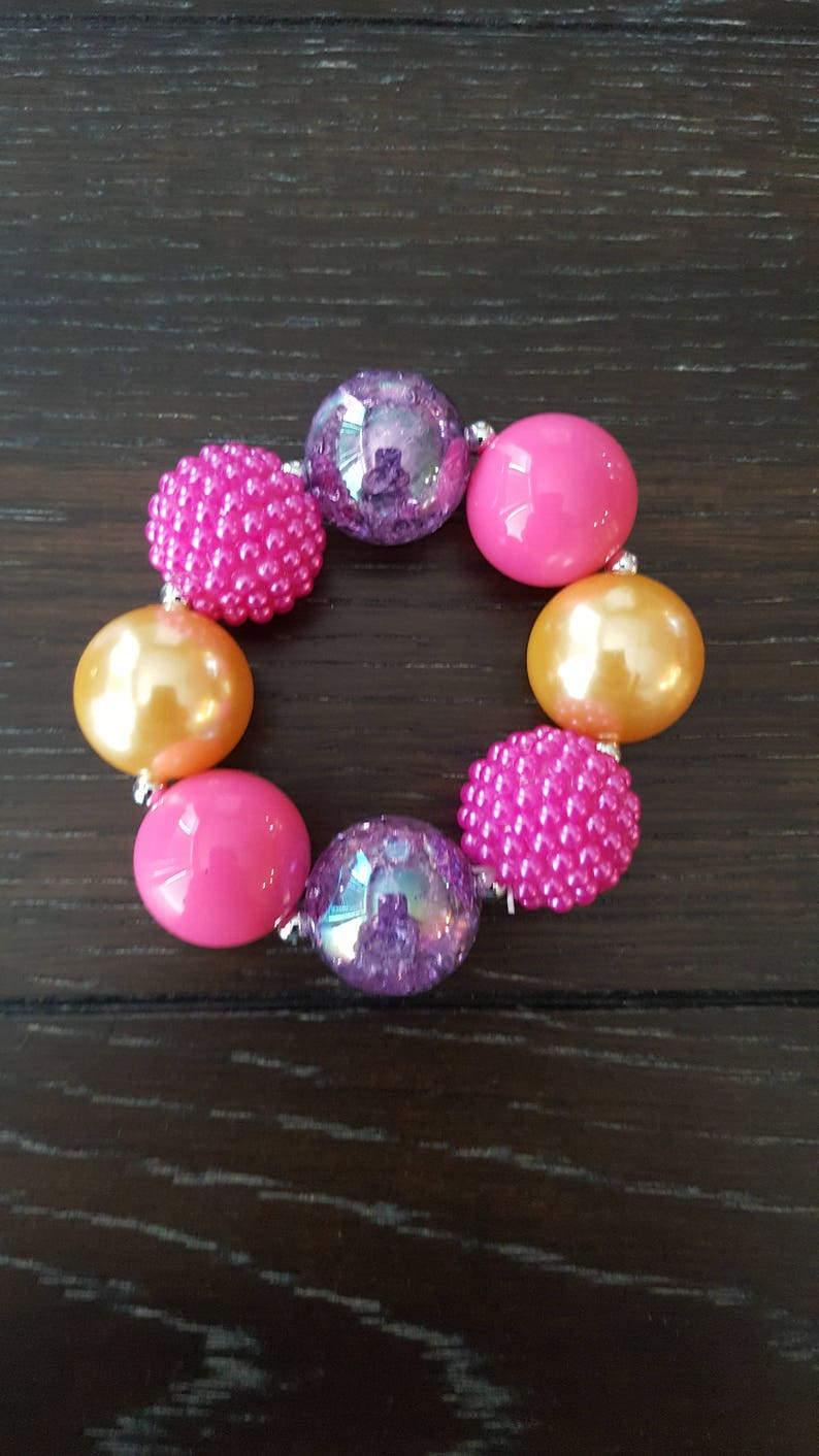 Princess Inspired Carriage Children/'s Chunky Bubblegum Bead Necklace and Bracelet  Disney