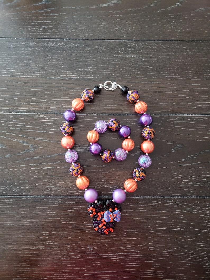 Halloween  Fall  Minnie Mouse inspired orange ad purple Chunky Bubblegum Bead Necklace /& Bracelet  Disney