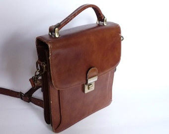 dc2495dd0dce Vintage Shoulder Bag Handbag Briefcase with Pockets Brown Genuine Leather  1970 s