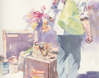 """Original watercolor painting, 8x10.5"""": 'On a spree'"""