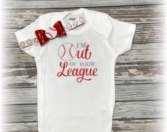 I'm out of your league onesie and headband set