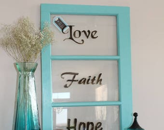 Vintage 3 Pane Window Frame with Glass ~ dry erase, photos, decor / Wall Decor / wood window frame / vintage window / wall art / farmhouse