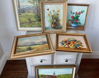 Original Vintage Art - Oil Painting - Needlepoint - Landscape Art - Floral Art