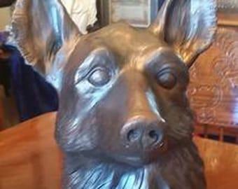 Life-size German Shepherd Bust Sculpture/Urn