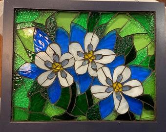 Stained Glass Mosaic Columbines Window Suncatcher
