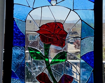 Mosaic Stained Glass Beauty & the Beast Rose