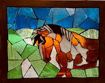 Horse - Wild Mustang Picasso of Sand Wash Basin Stained Glass