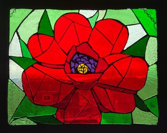 Stained Glass Mosaic Poppy