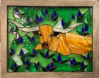 Mosaic Stained Glass Longhorn in a Field of Bluebonnets