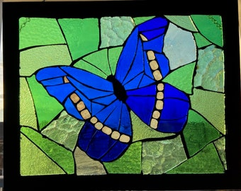 Blue Morpho Cypris Butterfly Stained Glass Mosaic
