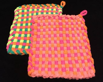 Hand-Made Cotton Loop Hot Pads / Pot Holders  - Set of 2