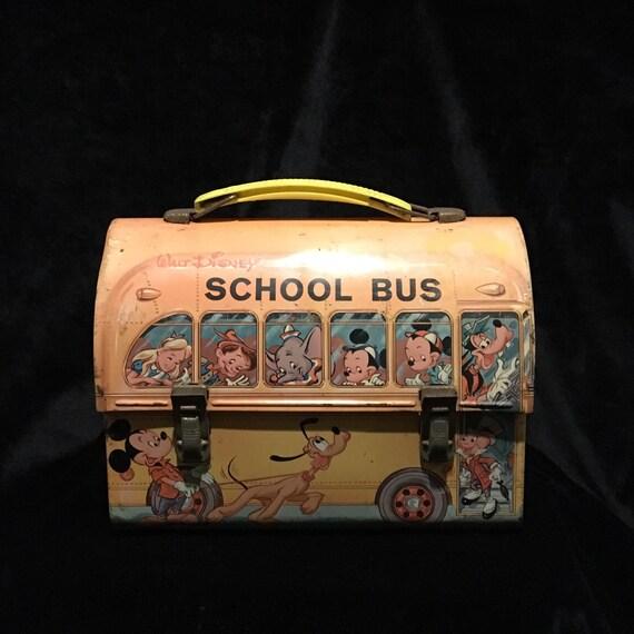 d29f2363d5bf9 1960s Walt Disney Productions Lunch Box - Domed - School Bus - Lots of  Disney Favorites!